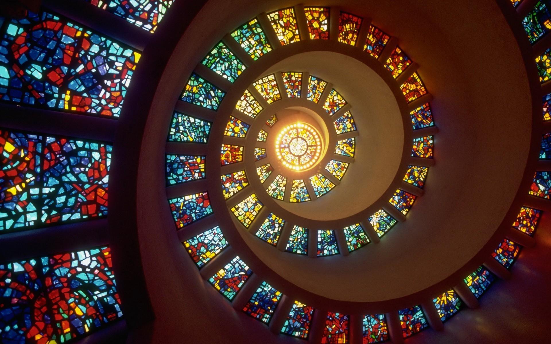 Обои лестница, Цвет, Витраж, стекло, окно. Города foto 12